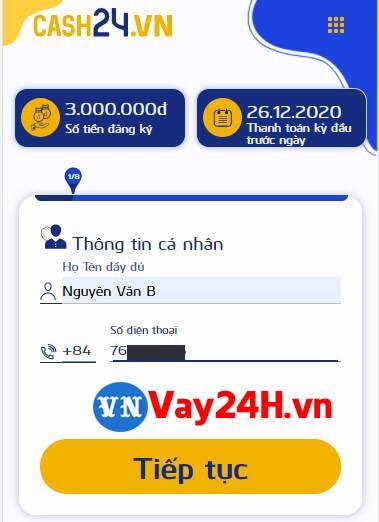 Các bước đăng ký vay tiền cash24 1