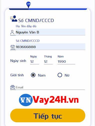 Các bước đăng ký vay tiền cash24 2
