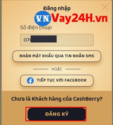 Các bước đăng ký vay tiền Cashberry bước 1