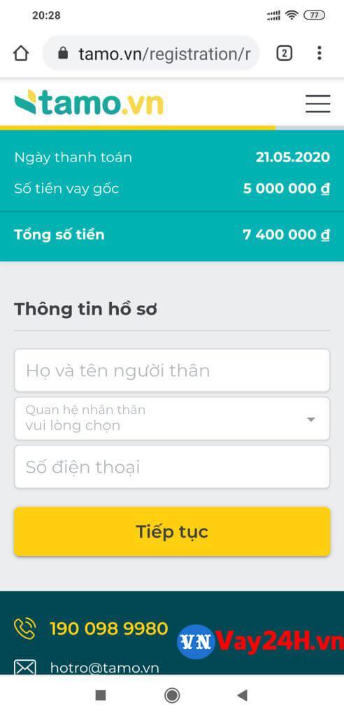 Hướng dẫn đăng ký vay tiền tamo 5