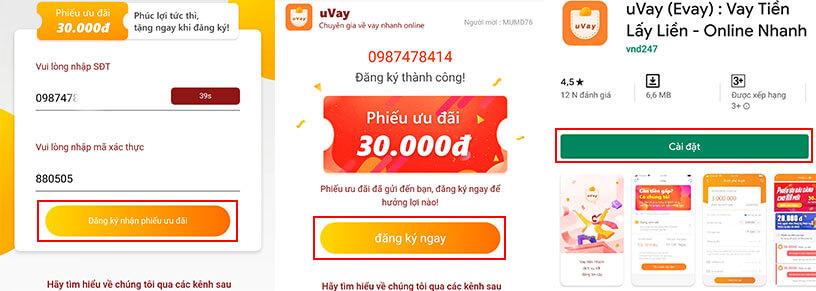 Đăng ký tài khoản vay tiền uvay evay