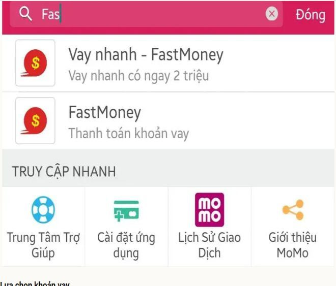 Vay tiền Fast money qua ứng dụng Momo